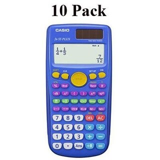 Casio Fx-55 Plus Elementary/Middle School Fraction Calculator, Pack Of 10, Blue