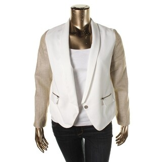 Nell Couture Womens Tencel Contrast Long Sleeves One-Button Blazer - 8