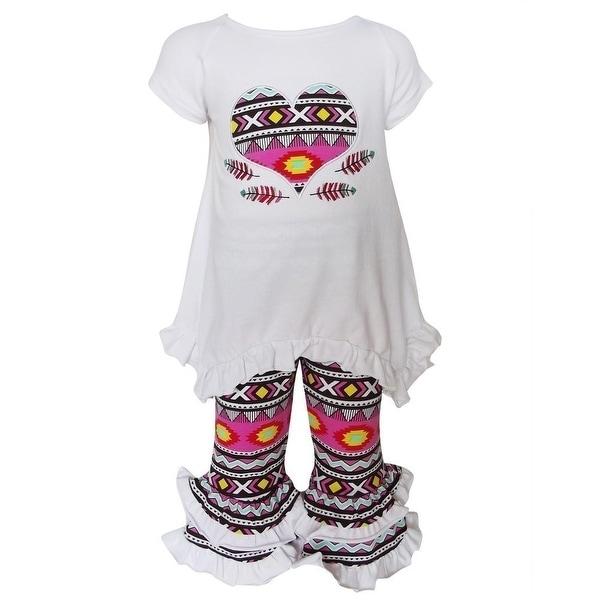 AnnLoren Baby Girls White Aztec Heart Detail Ruffle Pant Outfit