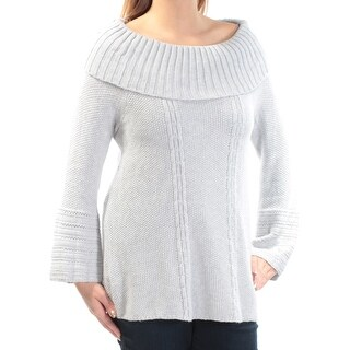 Womens Gray Long Sleeve Cowl Neck Sweater Size L