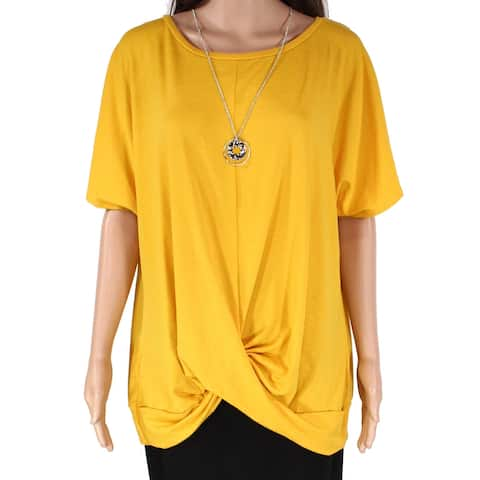 AGB Women's Knit Top Mustard Yellow Size 1X Plus Twist-Front Necklace
