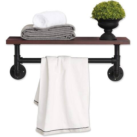 Industrial Pipe Bathroom Wall Shelf, Rustic Storage Shelves Towel Bar