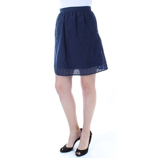 MAISON JULES Womens Navy Gathered Zippered Above The Knee ALine Skirt  Size: 8