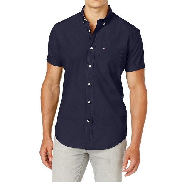 4793befaf Shop Tommy Hilfiger Navy Short Sleeve Button Down Shirt - Free Shipping On  Orders Over $45 - Overstock - 26929178
