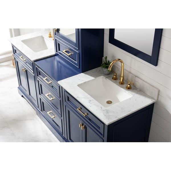 Milano 96 Double Sink Bathroom Vanity Modular Set In Blue Overstock 32184925