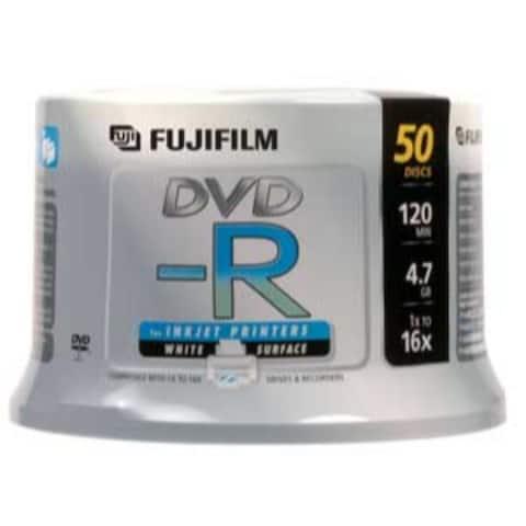 Fuji DVD-R, 15683730, 4.7GB, 16X, White Inkjet Printable, 50PK Spindle