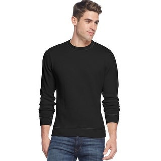 Club Room Tipped Crewneck Sweater Deep Black Cotton