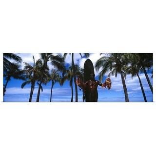 """""""Statue of Duke Kahanamoku Duke Kahanamoku Statue Waikiki Beach Honolulu Oahu Hawaii"""" Poster Print"""