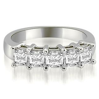2 00 Ct Tw 14K White Gold Princess Cut Diamond 5 Stone Prong Wedding Band