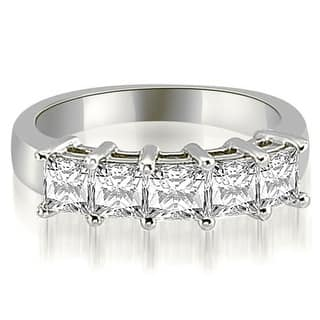 2.00 cttw. 14K White Gold Princess Diamond 5-Stone Prong Wedding Band (Option: 3.5)|https://ak1.ostkcdn.com/images/products/is/images/direct/30ba989b7be1bd3e81c7bf730bda074919524917/2.00-cttw.-14K-White-Gold-Princess-Diamond-5-Stone-Prong-Wedding-Band.jpg?impolicy=medium