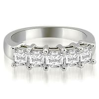 2.00 ct.tw 14K White Gold Princess Cut Diamond 5-Stone Prong Wedding Band,HI,SI1-2