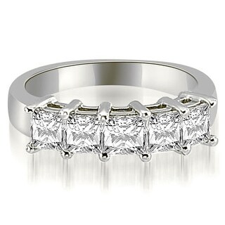 2.00 cttw. 14K White Gold Princess Diamond 5-Stone Prong Wedding Band