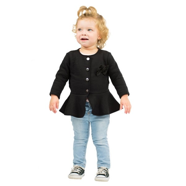 Pulla Bulla Baby Girl Dress Coat Solid Bow Jacket
