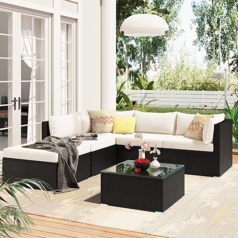 Nestfair 6-Piece Wicker Patio Conversation Set with Cushions