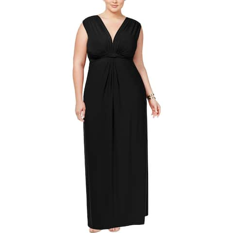 Love Squared Womens Plus Cocktail Dress Matte Jersey Knot-Front