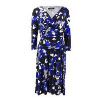 Nine West Women's Ruched 3/4 Sleeve Jersey Dress - regal blue combo