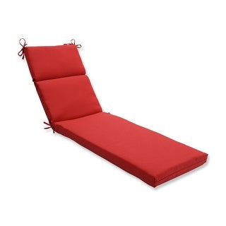 "72.5"" Tweed Red Outdoor Patio Chaise Lounge Cushion"