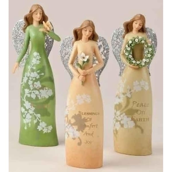 "8"" Christmas Garden Comfort and Joy Yellow Floral Angel with Flower Figure"
