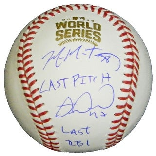 Mike Montgomery Miguel Montero Dual 2016 World Series Baseball wLast Pitch Last RBI