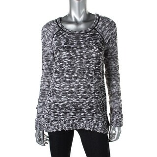Guess Womens Pullover Sweater Marled Faux Leather - XS