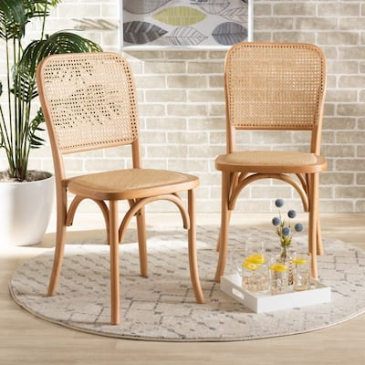 Neah Mid-Century Modern 2-Piece Woven Rattan and Wood Dining Chair Set