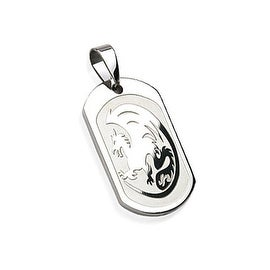 Stainless Steel Dragon Engraved Pendant (20 mm Width)