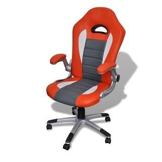 vidaXL Artificial Leather Office Chair Height Adjustable Modern Orange
