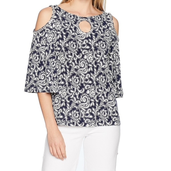 MSK Blue White Womens Size Medium M Cold Shoulder Embellished Blouse