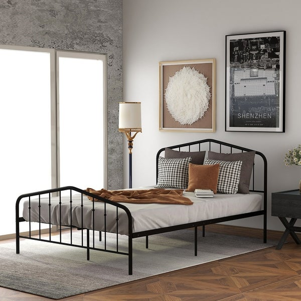 Traditional Spindle & Curved Design, Platform Metal Bed, Twin, Black. Opens flyout.