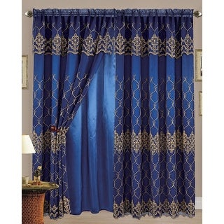 Karina Flower Embroidered Panel with Attached Valance and Backing, Navy-Gold, 55x84+18 - N/A