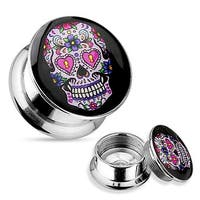 Pink Suger Skull 316L Surgical Steel Screw Fit Plug (Sold Individually)