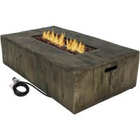 Sunnydaze Rustic Faux Wood Propane Gas Fire Pit Table with Cover - 48-Inch