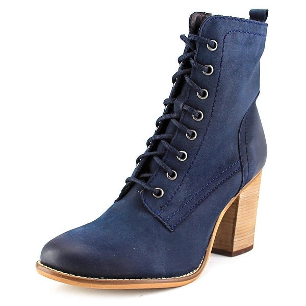 Steve Madden Lauuren Women  Round Toe Leather Blue Ankle Boot
