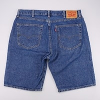 LEVI STRAUSS 505 Reg Fit Jean Shorts Dark Wash Denim Mens 38