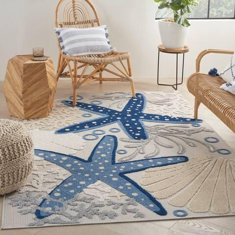 Nourison Aloha Coastal Beach Theme Starfish Indoor/Outdoor Area Rug