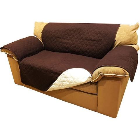 ALEKO 2-Seater Sofa Slipcover Brown Spill Scratch Pet Protection 88 x 70 in - loveseat