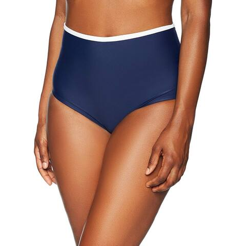 Coastal Blue Women's Swimwear Convertible Fold Over Bikini Bottom, New Navy, M - Medium