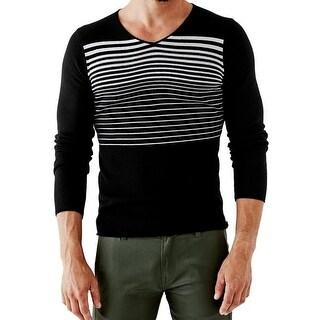 Guess NEW Deep Black Mens Size 2XL V-Neck Stripe Longsleeve Sweater