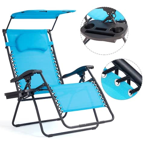 Gymax Folding Recliner Zero Gravity Lounge Chair W/ Shade Canopy Cup