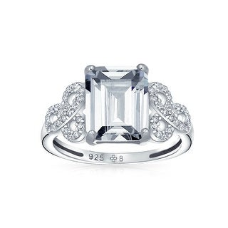 Link to 3CT Sterling AAA CZ Celtic Knot Emerald Cut Solitaire Engagement Ring Similar Items in Rings