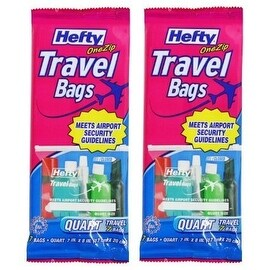 Hefty One Zip Travel Bags Quart Size (2 Pack)