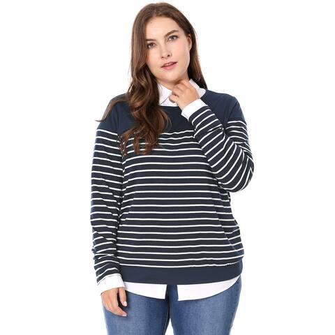 Unique Bargains Women's Plus Size Round Neck Long Sleeves Striped T-shirt - Blue
