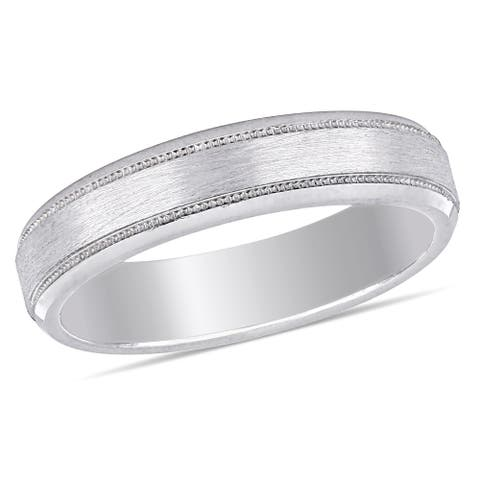 Miadora Ladies Brushed Textured Comfort Fit Wedding Band in 10k White Gold (4mm)