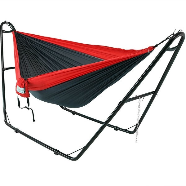 Sunnydaze Double Nylon Parachute Hammock, 2 Person Multi-Use Steel Hammock Stand, 440 Pound Capacity, Multiple Colors Available