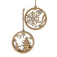 "Pack of 12 Natural Wood Christmas Tree and Snowflake Circle Ornaments 4"" - brown"