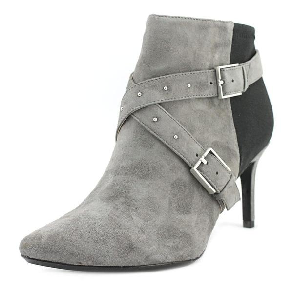 Calvin Klein Jennette Women Pointed Toe Suede Gray Bootie