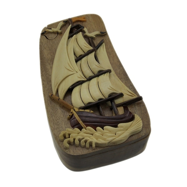 Nautical Sailing Ship Hand Crafted Wooden Trinket/Puzzle Box - 2.75 X 6.25 X 3.75 inches