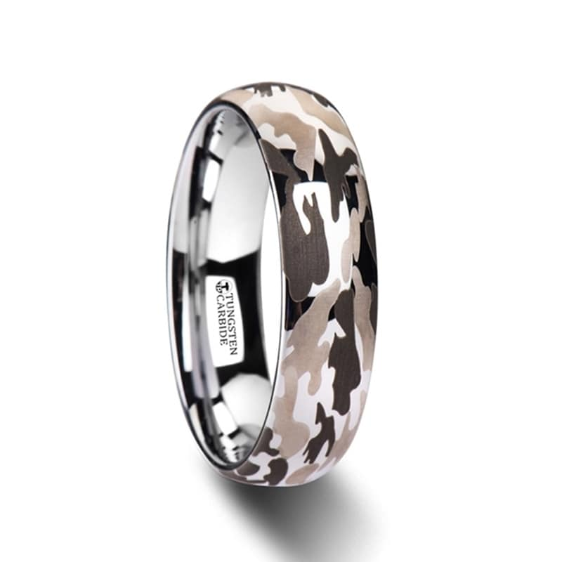 BATTALION Domed Tungsten Carbide Ring Laser Engraved Camo Pattern -6mm (12)
