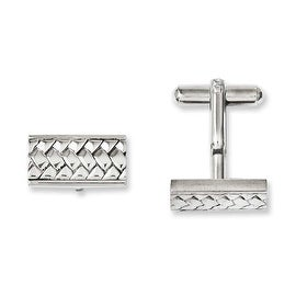 Chisel Stainless Steel Textured & Polished Cuff Links
