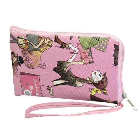 Unique Bargains Mobile Phone Mp4 Zipper Closure Cartoon Pattern Nylon Lining Pouch Holder Pink